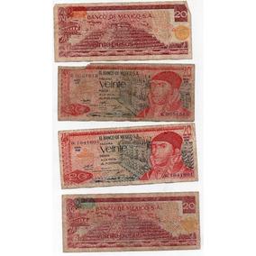 Billete Antiguo México Veinte Pesos Maltratado 1970 S2