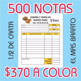 500 Notas De Venta O Remision 1/2 Carta Autocopiante A Color