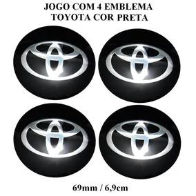 Jogo Emblema Toyota Preto Aluminio 69mm P/calota Roda Liga