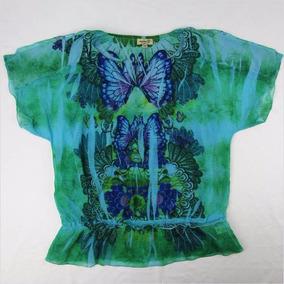 Bella Blusa Verde Con Estampado Para Dama One World Talla L