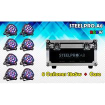 Mayoreo Steelpro 8 Cañónes Par 64 Led Rgbw, 18x5w, Dmx512.