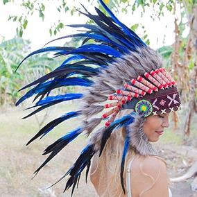 Penacho Indigena Apache Indio Adultos 46 Azul Envio Gratis