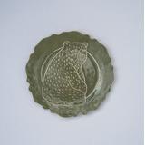Plato Oso Verde Ceramica Postre Adorno Pared