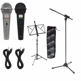 2 Microfones + 1 Pedestal + 1 Estante Para Partitura + Cabos