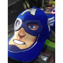 Gorra Niños Capitán América Escudo O Cara 2 Modelos