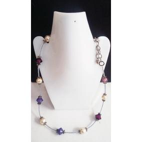 Collar+pulsera+aretes -morado Chaquira Perla-