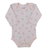 Body Manga Longa Bebê Ursinha - Baby Fashion - Branco