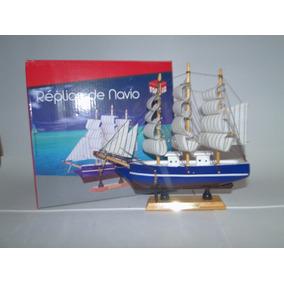 Barco Caravela Decorativo - Réplica Navio De Madeira Antigo