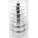 Jogo De Panelas Grandes Em Aluminio E Tampas Pesadas 8 Peças