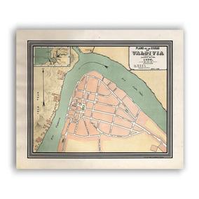 Mural Decorativo Mapa Plano De Valdivia En 1896 - Lámina Map
