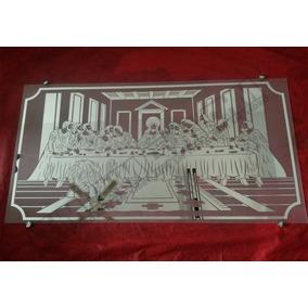 Quadro Decorativo Santa Ceia Em Espelho Jateado