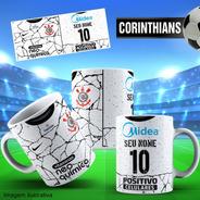 Caneca Personalizada Futebol Corinthians Com Nome E Número