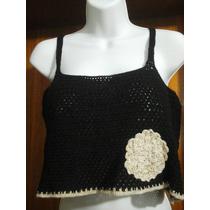 Blusa Playera Corta, Tejida A Crochet