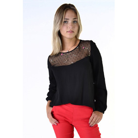 Blusa Remera Bordada Manga Larga Mujer The Big Shop