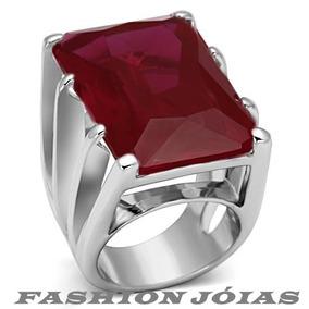 Anel Solitário Vermelho Rubi Pedra Natural Luxo Aço Inox
