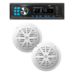 Pyle Combo Estereos Bluetooth Marino + Parlantes 6,5 Pulg