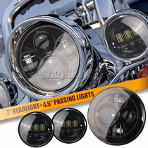 Harley Davidson Farol Led Central 7 +2 Auxiliares Daymaker