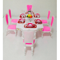 Casa De Muñecas De Tamaño Barbie Comedor Muebles-grand Play