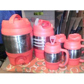 Juego De Dispensador De Liquido Con Vasos Con Tapas Rojo