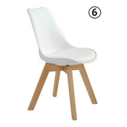 Conjunto 06 Cadeiras Saarinen Leda Sked Lena Base Wood