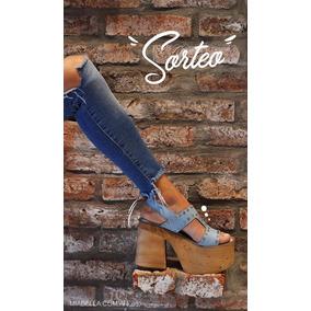 Sandalias Zapato Taco Partido Rustico De Goma Eva Y Tachitas