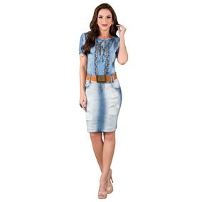 Saia Saia Puídos Fusionados Moda Evangélica Jeans Azul