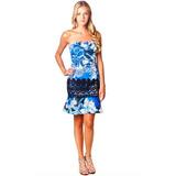 Vestido Azul Seda Pura Renda Quadril Flores Anne Fernandes