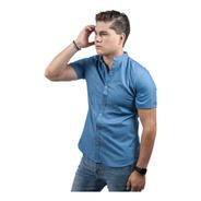 Camisa Manga Corta  Mezclilla Cuello Mao