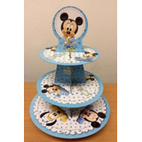 Torre Con 30 Pirotines Nº10 Cupcakes Mickey Bebe Candy Bar