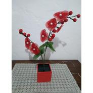 Arranjo Vaso De Madeira Vermelho Orquídea  Artificial