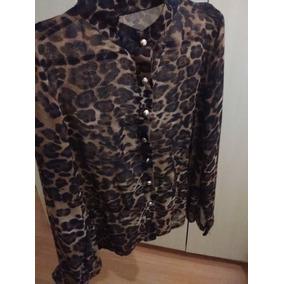 Camisa Feminina Animal Print Chiffon