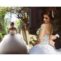 Lindo Vestido Longo De Noiva Estilo Bolo Rodado Sexy Luxo