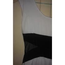 Vestido Casual Blanco Y Negro