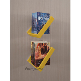 Porta Livros Estante Nicho Parede Amarelo Laca Kit 2 Pçs