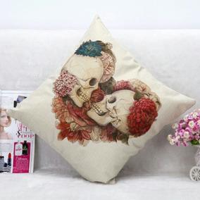 Cojín Decorativo Calavera Enamorados 45x45cm San Valentín