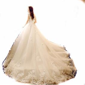 Vl37 Vestido De Noiva Lindo Princesa Renda Pedras Importado
