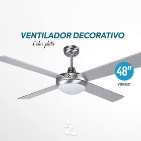 Ventilador Techo 48 Pul Color Plata C/lamp Zmartech Vtd484zt