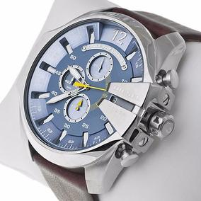 Relógio Ks0567 Diesel Dz4281 Fundo Azul Pulseira Couro Lindo
