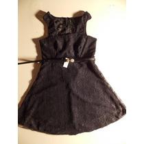 Vestido Corto Pollera Campana Mini Encaje Negro+cinturon! S