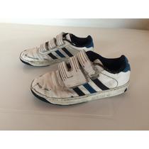Zapatillas Niños Adidas Con Abrojo Blancas Y Azul
