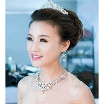 Conjunto Tiara Colar Brincos Noivas Casamento Cristal Perola