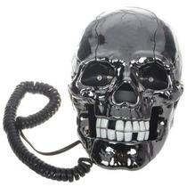 Única Forma De Esqueleto Cráneo Negro Tierra De Línea Telef