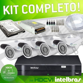 Kit Cftv 4 Cameras Ahd 1.3 Dvr 4 Canais Intelbras Hd 1 Tera