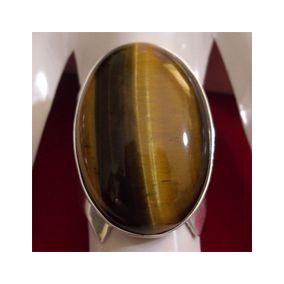 Anel Em Prata 950 Pedra Natural Olho De Tigre - Frete Grátis