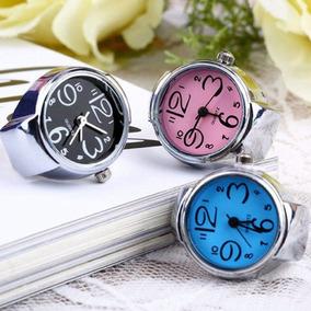 Relógio Feminino Dedo Azul Anel Elástico Prata Moda Promoção