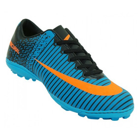 Chuteira Society Nike Mercurial Vortex 3 Azul E Laranja