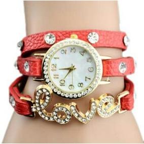 Relógio Bracelete Lindo Com Strass Love Top
