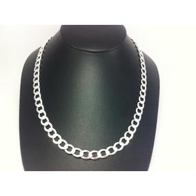 Ad5010 Cadena Gruesa De Plata 925 Tejido Cubano Diamantada