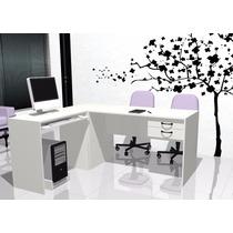 Escritorios L Blanco Lado A Mesas De Pc Muebles De Oficina