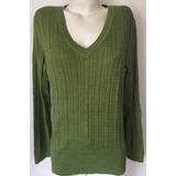 Tommy Hilfiger Sweater Chaleco Cuello V Trenzado Verde L